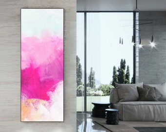 Contemporary Pink Abstract Giclee Print, Narrow Painting, Home Decor,Embellished Canvas Print, Wall Art UK