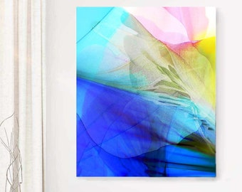 Opalescent Butterfly Wings Fine Art Print, Blue Floral Art, Pale Pink Petals, White Interior, Large Wall Decor, UK