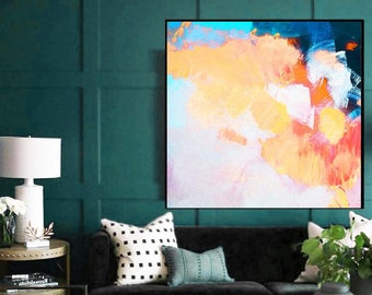 Hydrangea and Apricot Abstract Art Print, Blue Green Contemporary Floral Painting, Teal Interior design, UK