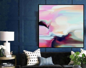 Southern Whisper Fine Art Print, Soft Pink Abstract Painting, Light Livingroom Decor, Wall Art Aesthetic, UK