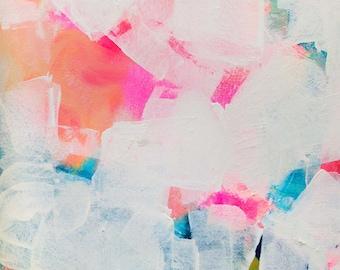 Modern Mid Century Abstract Art Print, White Painting, Minimal Decor, Pink Aesthetic Wall Art, Kimberly Godfrey