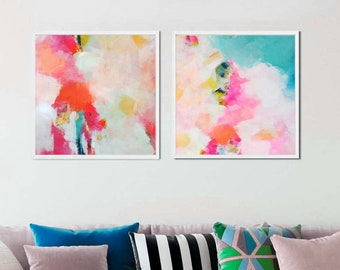 Key West Sky Print Set, Modern Home Decor, Contemporary Gold Leaf, Abstract Pink Aesthetic, Oversized Wall Art