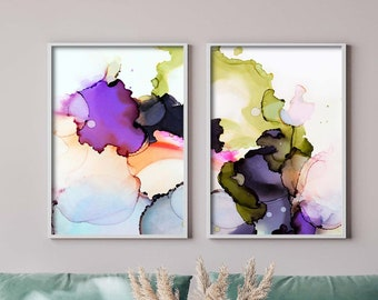 Olive Green & Violet Abstract Fine Art Print Set, Purple Home Decor, Eclectic Interior design, Wall Art UK