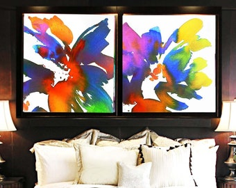 Yellow Bird of Paradise Abstract Art Print Set, Large Tropical Floral Set, Colourful Wall Art for Home Decor, UK