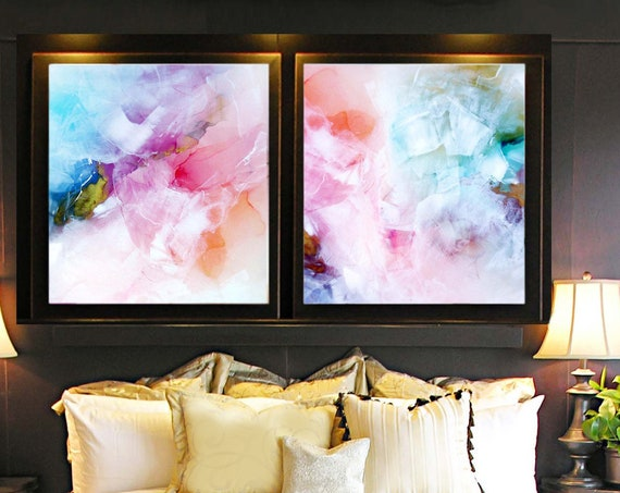 Coral Blush & Teal Abstract Fine Art Print Set, Interior Design, Soft White Modern Acrylic painting uk