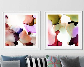 Blush & Sage Abstract Fine Art Print Set, Mint Green, Interior Design, Rich Jewel Tones Modern Contemporary Wall Art