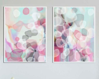 Set of Modern Abstract Art Prints, Pink, Grey and Mint Painting, Unique Interior Design, Wall Art Decor