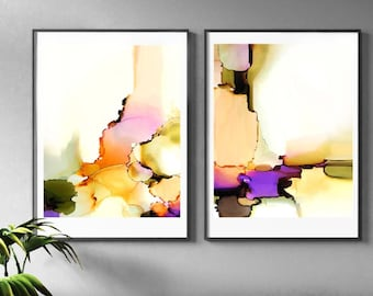 Blush Floral Abstract Set of 2 Fine Art Prints, Neutral Coral & Avocado Green Home Decor, Interior Design, Pastel Painting
