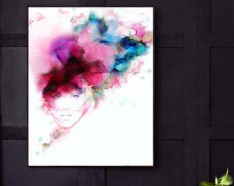 Fashion Illustration, Watercolour Print. Aesthetic Pink Wall Art, Grey Home Decor, Hair Salon Prints