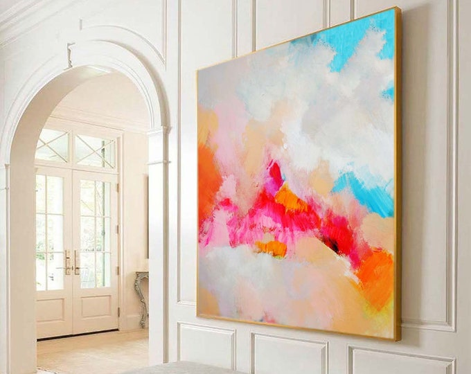 Featured listing image: Tangerine Clouds Abstract Art Print, Bright Modern Home Decor, Orange Wall Art, Large Abstract Painting, UK