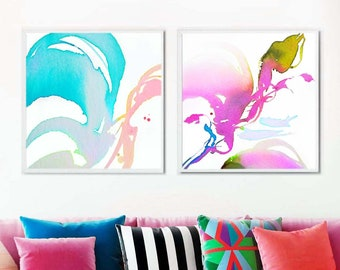Pink Fuchsia Set of 2 Abstract Contemporary Fine Art Prints, Soft Pastel Watercolour Paintings, Home Decor, Colourful Floral Wall Art, UK