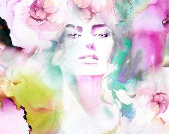 Cerise Jardin, Fashion Illustration, Boho Beauty, Pink Aesthetic, Wall Art, UK Artist, Salon Decor