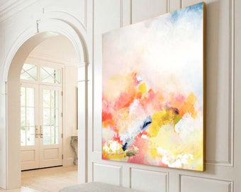 Apricot Blush Abstract Art Print, Large Embellished Canvas, Office Decor, Oversized Yellow Wall Art, UK