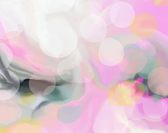 Featured listing image: Pink Pearl Abstract Fine Art Print, Contemporary Pastel Yellow Home Decor Wall Art, White Canvas, UK