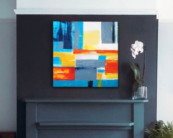 Orange and Teal Blue, Colourful Abstract Print, Yellow Wall Decor, Mid Century Aesthetic, Interior Design, UK