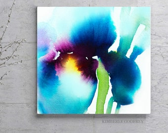 Iris Abstract Fine Art Print, Watercolour, Aqua Green Teal Floral Ink, Large Square Flower Canvas