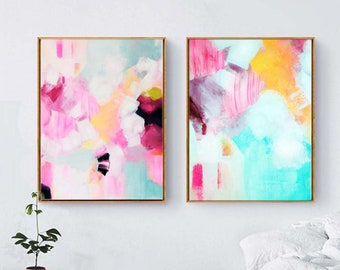 Abstract Pink & Teal Set of Fine Art Prints, Mint Green Abstract Canvas Wall Art, Contemporary Painting, Modern Home Decor