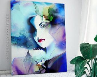Cobalt Blue Fashion Illustration, Art Print, Watercolor Portrait, Bright Blue Hair, Salon decor, UK
