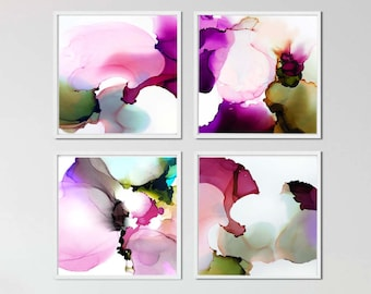 Set of 4 Abstract Floral Art Prints, Pink Teal Watercolor Blossom Petals,Flower Paintings Home Decor Interior Design