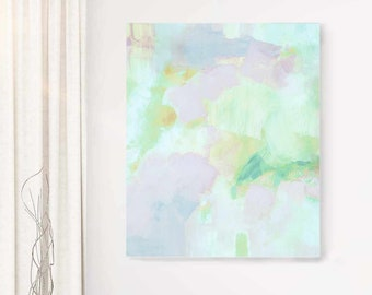 Pale Mint Sky Abstract Fine Art Print, Embellished Canvas, Soft Grey Wall Art, Office Decor, UK