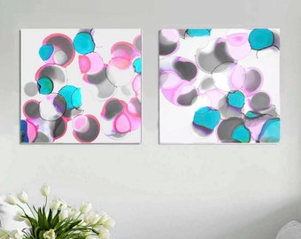 Pink Bubble Blossoms, Mint Abstract Art Print Set, White Circles, Large Set, Wall Art for Home Decor