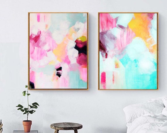 Pink & Teal Set of Fine Art Prints, Soft Pink Painting, Mint Green Wall Art