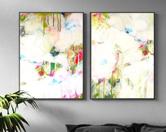White Gold Abstract Set of Fine Art Prints, Zen Floral Painting, Embellished with Gold Mica, Gold Leaf, Dripping Ink, Home & Office Decor