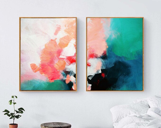 Featured listing image: Abstract Hydrangea Set of 2 Fine Art Prints, Blush Interior Design Oversized Paintings, Home Decor, Wall Art, UK