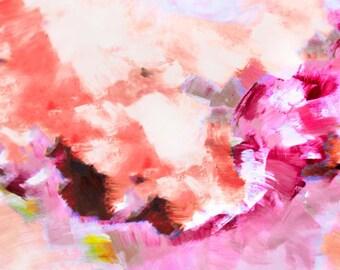 Kew Gardens Abstract Art Print, Bright Blush Pink, Floral White Interior Design, Interior Design, Wall Art UK
