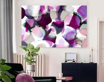 Merlot Abstract Art Print, Modern Home Decor, Purple Aubergine Petals, Rich Color Wall Art UK