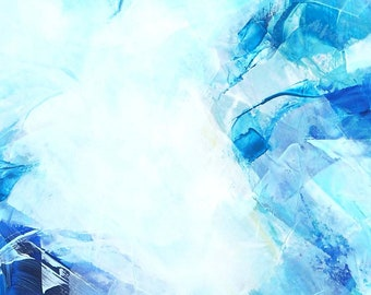 Serenity Blue Abstract Fine Art Print, Cool Zen Painting, Calm Home Decor, Oversized Office Wall Art