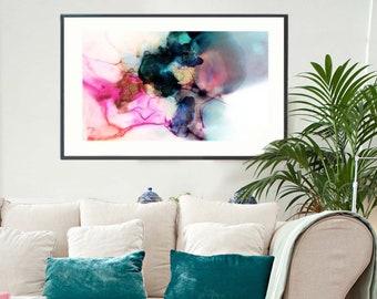 Opal Landscape Abstract Print, Pastel Home Decor, Blue Green Interior Design, Oversized Wall Art UK