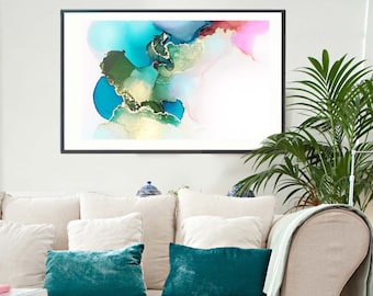 Contemporary Blue Abstract Art Print, Gold leaf, Teal Green, Gold Ink Painting, Home Decor, Large Wall Art