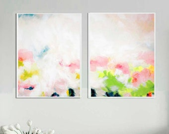 White Halcyon Set of 2 Abstract Prints, Lime Green Floral Paintings, Pastel Home Decor, Blush Pink Modern Wall Art