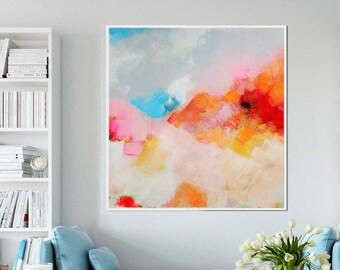 Tangerine Blush Abstract Art Print, Large Canvas Print, Orange Wall Decor, Modern Pink Painting, UK