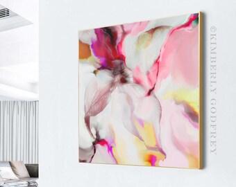Cerise Flower Drift Abstract Fine Art Giclee Print, Interior Design, Pink Wall Decor, Room Aesthetic, UK