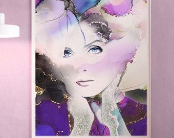 Gilded Lily Fashion Illustration, Watercolor, Soft Purple Aesthetic, Large Portrait Painting Gold Leaf, Beauty Salon Decor