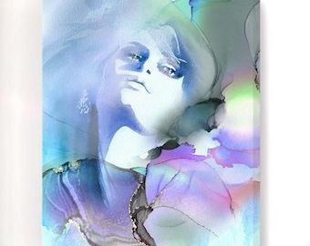 Blue Dream Fashion Illustration, Watercolor, Soft Grey Aesthetic, Large Canvas Art, Beauty Salon Decor