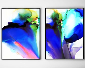 Set of Cobalt Blue Floral Abstract Art Prints, Colorful Interior Design, Room Decor Aesthetic Wall Decor, UK