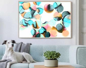 Aqua Circles Fine Art Print, Abstract Canvas for Home Decor, Soft Grey, Light Teal Bubbles