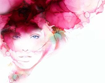 Cherry Floss Fashion Illustration, Watercolor Portrait, Pink Aesthetic, Canvas Wall Art, White Salon Decor
