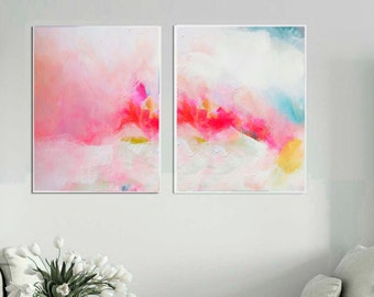 Miami Pink Sky Set Fine Art Print Set, White Aesthetic Home Office Decor, Beautiful Wall Art, UK