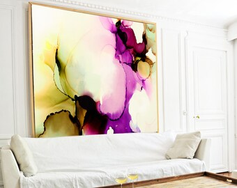 Sage & Merlot Fine Art Print, Contemporary Abstract Canvas for Home Decor, Oversized Painting
