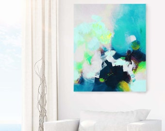 White Hydrangea Abstract Fine Art Canvas Print, Modern Home Decor, Pastel Wall Art, Floral Abstract Painting