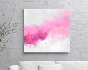 Creamcicle Pink Abstract Fine Art Print, Soft White Painting, Beautiful Large Wall Art, Interior Design