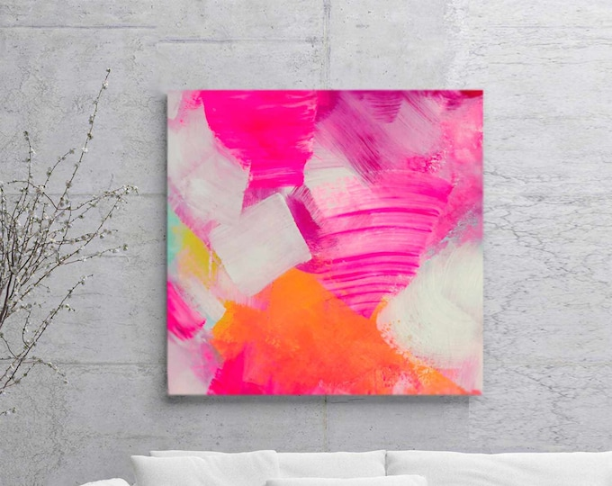 Featured listing image: Pink Coral Abstract Painting, Art Print Ink Painting Soft Rose Petals, Feminine Decor, Bedroom, Livingroom