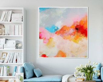 Tangerine Blush Abstract Art Print, Large Embellished Canvas Print, Office Wall Decor, Modern Pink Painting, UK
