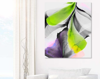 Floral Limelight Abstract Art Print, Lime Green Room Aesthetic, Bright Unique Wall Decor, Interior Design, UK Artist