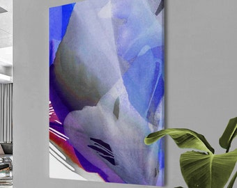 Soft White Abstract Leaves,  Cobalt Blue Floral Art Print Home Decor, Indigo Blue Foliole Wall Art, UK