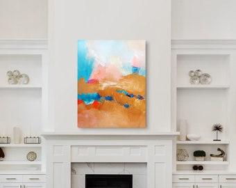 Sante Fe Cloudland Abstract Fine Art Print, Golden Amber Red Southwestern Wall Art, New Mexico Tan Desert
